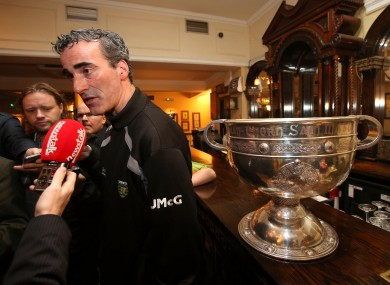 Donegal boss Jim McGuinness speaking to the media in the Burlington Hotel yesterday morning.