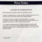 A statement issued by British Prime Minister John Major after the announcement. He said he was