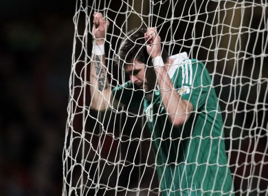 Northern Ireland's Kyle Lafferty dejected. 