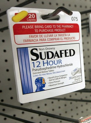 Sudafed is perhaps the best-known over-the-counter drug which includes pseudoephedrine, which can be used in the manufacture of methamphetamines.