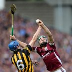 Niall Burke beats Brian Hogan to a catch.