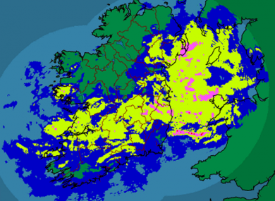 Met ireann's rainfall radar for 7:30am shows much of the east and south being hit by continued rainfall.