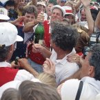 1991: Hale Irwin, wearing white shirt at front right, is surrounded by teammates as Payne Stewart sprays champagne during their celebrations at Kiawah Island.