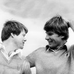 1977: Nick Faldo, right, with American Tom Watson at Royal Lytham & St Anne's.
