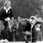 1977: Jack Nicklaus, left, and Tom Watson check the lie of the ball.