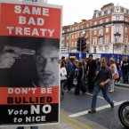 A giant No to Nice placard on O'Connell Street, Dublin in September 2002.