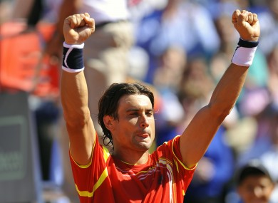 Spain's David Ferrer celebrates after beating Sam Querrey of the US.