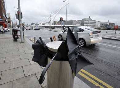 A summer sight? A bin full of broken umbrellas on Sir John Rogerson's Quay, Dublin 2