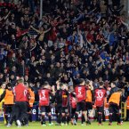 The Bohemians players and fans celebrate their first win at Tallaght Stadium on Monday. 