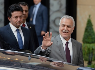 Iraq's Vice President Tariq al-Hashemi speaks to the media as he leaves a meeting with Turkey's Foreign Minister Ahmet Davutoglu in Ankara on Sunday.
