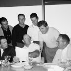1959: US captain Sam Snead shows teammates a list of the pairings for the first round matches.