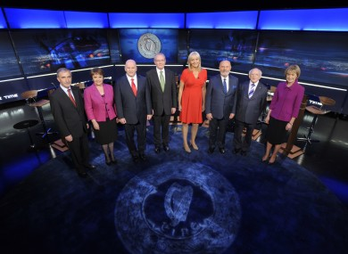 The seven candidates in last year's Presidential election, preparing for the RTÉ Prime Time debate with Miriam O'Callaghan.
