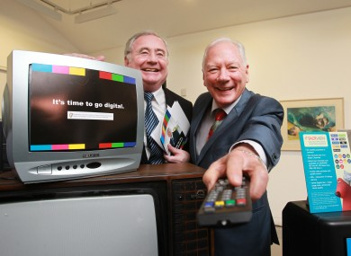 Minister of Communications Pat Rabbitte with Gay Byrne at the announcement of the Digital TV switch-over.