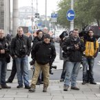 Members of the media at the High Court this morning waiting for Sean Quinn and his son. (Photo: Mark Stedman/Photocall Ireland)