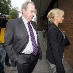 Seán Quinn Snr arrives with his daughter-inilaw Karen Woods at the High Court this morning. Photo: Laura Hutton/Photocall Ireland