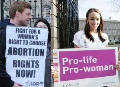 Two separate protests - one pro-choice and another anti-abortion - outside the Dil this year. 