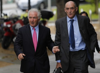 Seán FitzPatrick outside Dublin District Court with his solicitor Michael Staines yesterday