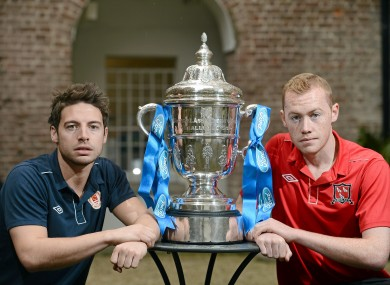 Cup rivals: Murphy, left, with Dundalk captain Chris Shields.