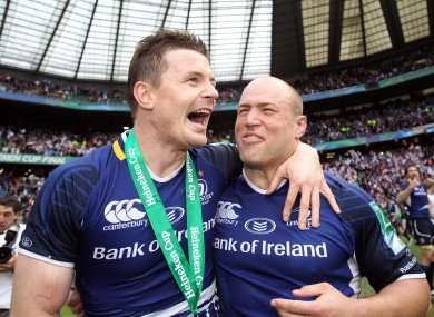 Brian O'Driscoll and Richardt Strauss celebrate winning the Heineken Cup in May at Twickenham.