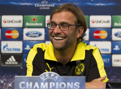 Borussia Dortmund's manager Jurgen Klopp waits to answer questions at Manchester City's Etihad Stadium.