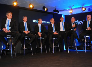 Team Sky sports directors Sean Yates, Scott Sunderland, Steven De Jongh and Marcus Ljungqvist with head of operations Carsten Jeppeson, head coach Shane Sutton and team principal Dave Brailsford during the Team Sky official launch in 2010.
