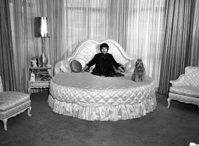 Groucho Marx's wife Eden in their bed in 1958. She hogged the whole thing.