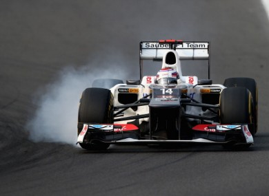Kamui Kobayashi of Japan and Sauber F1 drives during the Korean Formula One Grand Prix.