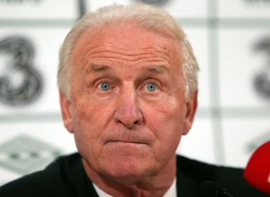Giovanni Trapattoni at last night's press conference.