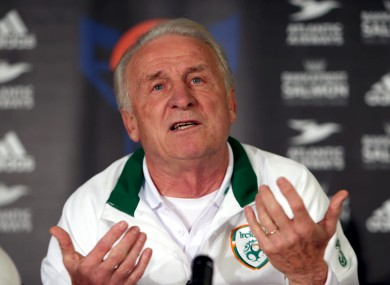 Trapattoni at a press conference last night.