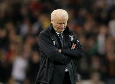 Ireland's manager Giovanni Trapattoni turns away after Germany score their fourth goal.