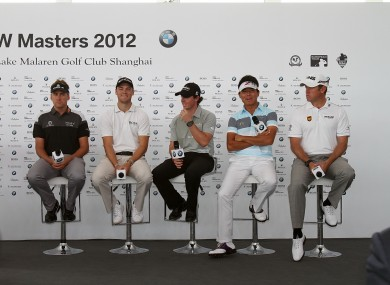 (L - R) Ian Poulter of England, Martin Kaymer of Germany, Rory McIlroy of Northern Ireland, Wu A-shun of China and Lee Westwood of England.