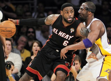 LeBron James (left) and Kobe Bryant are expected to battle it out for MVP honours this NBA season.