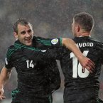Northern Ireland's Niall McGinn celebrates scoring against Portugal during Tuesday night's 2014 FIFA World Cup Qualifier at the Dragao Stadium, Porto.