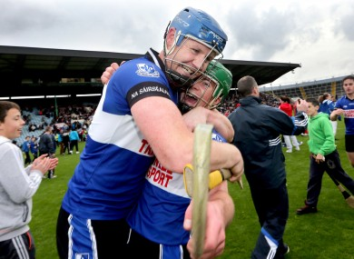 Sarsfields' Michael Cussen and Daniel Kearney celebrate after their Cork SHC final win.