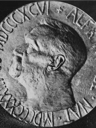 Photo of the Nobel Peace Medal taken on December 3, 1957.