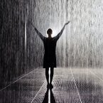 Visitors explore 'Rain Room' by artists Random International, a 100 square metre field of falling water which parts as visitors walk underneath, at the Barbican, in central London. Dominic Lipinski/PA Wire