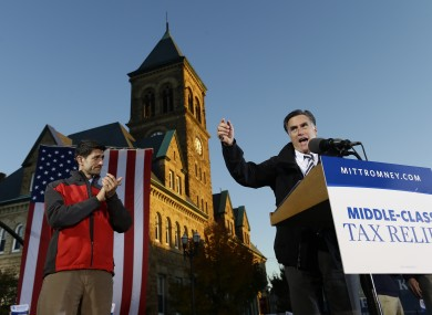 Mitt Romney and Paul Ryan (left) campaigning in Lancaster, Ohio last night.