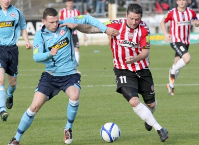 Derry's Rory Patterson struggled on his return from injury today.