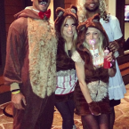 That's Wilson as Papa Bear, his wife as Mama Bear and... Seahawks wide receiver Golden Tate as Goldilocks