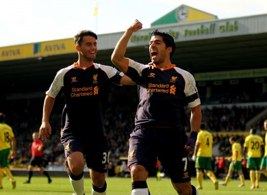 Suso, left, with Luis Suarez who scored a hat-trick in Liverpool's 5-2 win against Norwich last weekend.