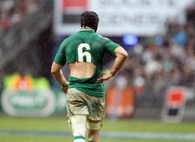Stephen Ferris' torn number six jersey in Paris.