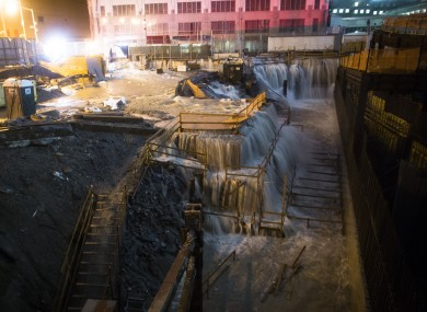 Sea water floods the Ground Zero construction site, Monday, Oct. 29, 2012, in New York.