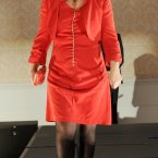 Lady in Red is Sinn Fin's Sandra McLellan. Photo: Laura Hutton/Photocall Ireland