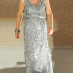 Imelda Henry dons the silver gown. Photo: Laura Hutton/Photocall Ireland