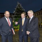 (LtoR) President of the European Parliament, Martin Schulz, Taoiseach Enda Kenny and Tanaiste Eamon Gilmore pictured at Dublin Castle prior to a meeting to discuss the priorities of the Irish EU Presidency beginning in the new year. 