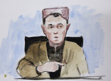 In this courtroom sketch, a young boy named Sadiquallah, testifies in the early morning hours of Saturday from Afghanistan.