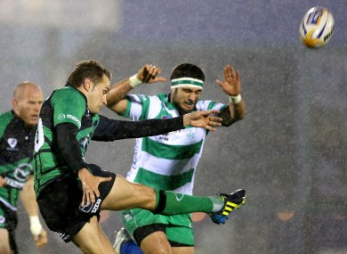 Dan Parks clears against Treviso.