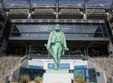 A statue of Michael Cusack founder of the Gaelic Athletic Association at the entrance to Croke Park, which has lent its name to the current deal on public sector cutbacks.