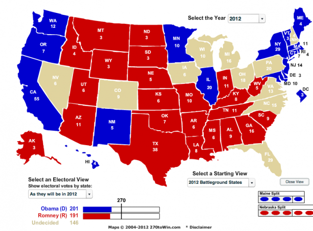 Electoral Map USA 2012