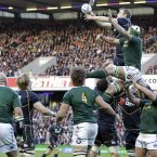 Scotland's XX (R) vies with South Africa's XX (L) during an international rugby union match at Murrayfield Stadium, Edinburgh, Scotland on 17th November, 2012. Photo. Graham Stuart for Press Association.